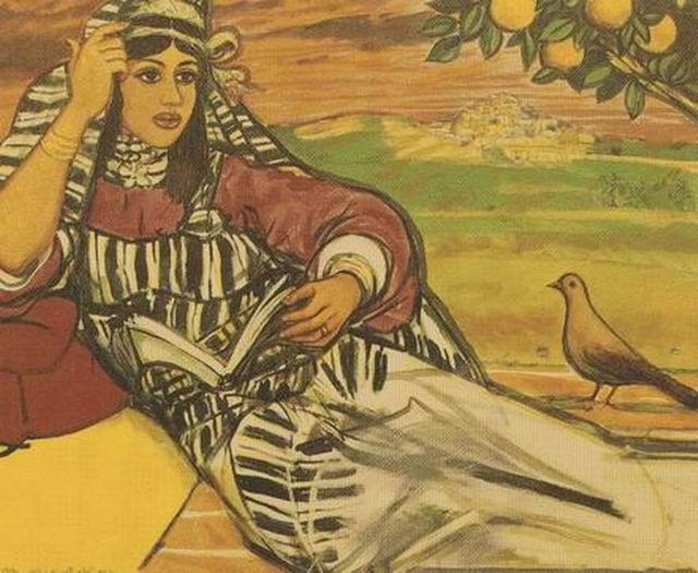 من أعمال التشكيلي الليبي .. الطاهر المغربي (السيدة والحمامة)