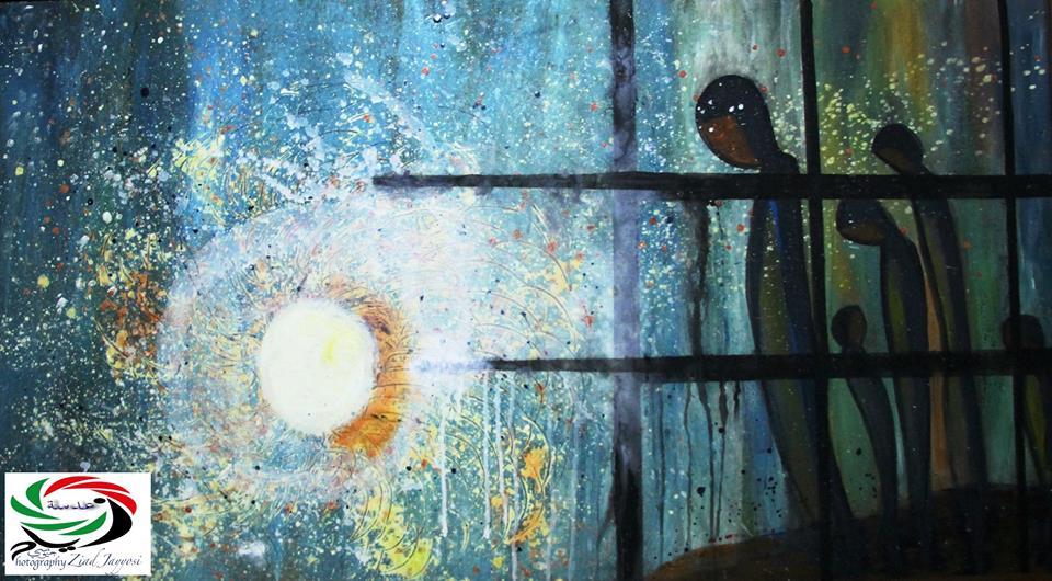 من أعمال الفنانة التشكيلية فجر إدريس.
