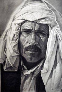 من أعمال التشكيلي عبدالرزاق الرياني.