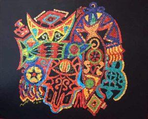 من أعمال التشكيلي الليبي عبدالقادر بدر.