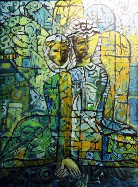 من أعمال التشكيلية نوال عبدالرحيم.