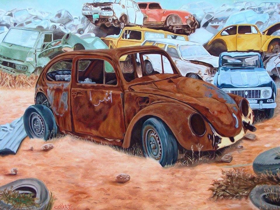 السيارة الخردة.. من أعمال التشكيلي جمعة الفزاني.