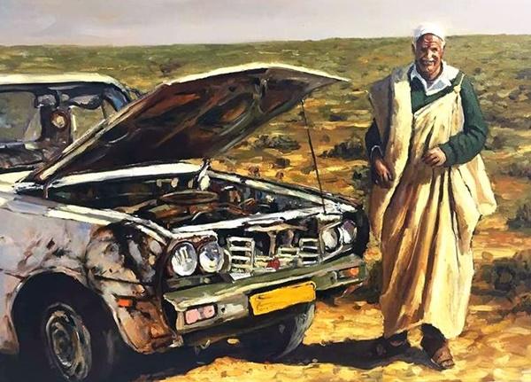 من أعمال التشكيلي الليبي محمد البرناوي.