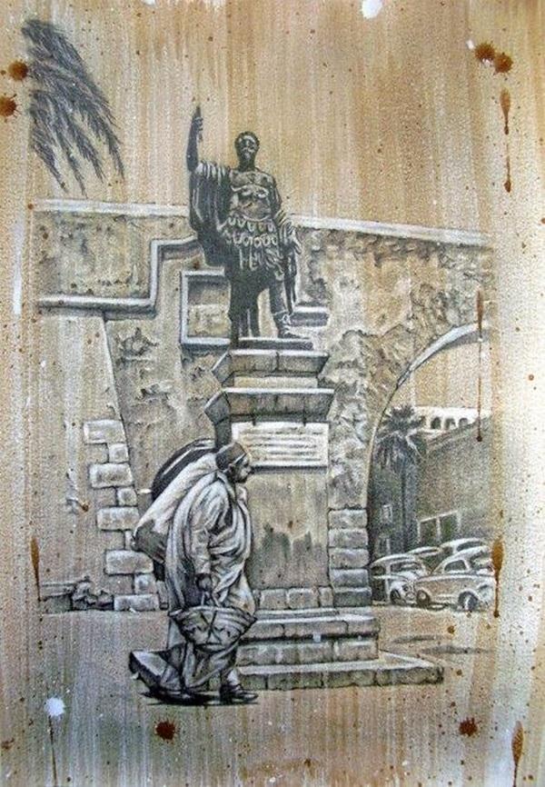 من أعمال التشكيلي الليبي محمد القريتلي.