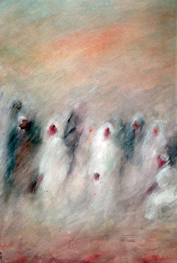 من أعمال التشكيلي الليبي عمران بشنة.