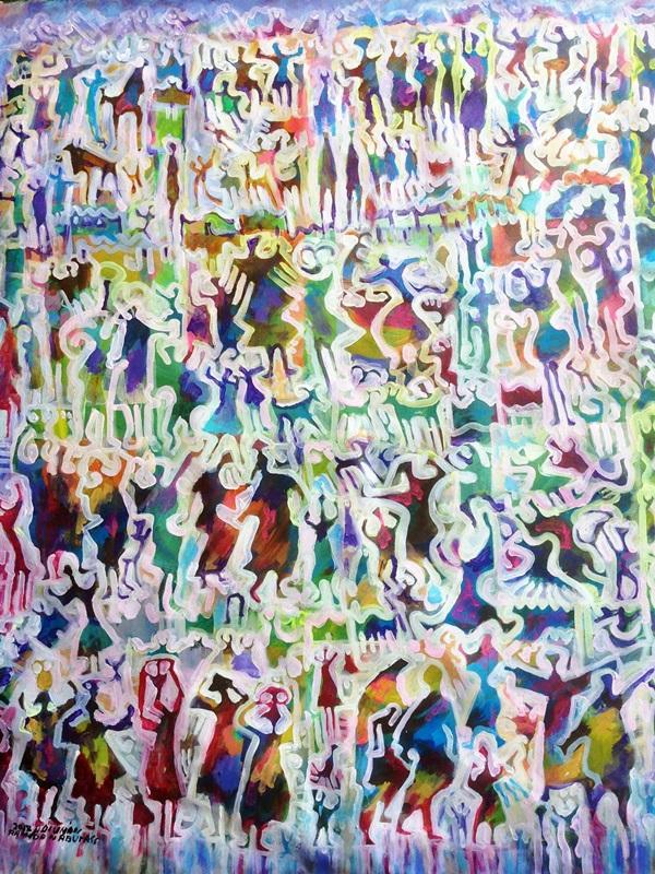 تراكم وحشد - من أعمال التشكيلي الليبي رمضان أبوراس.