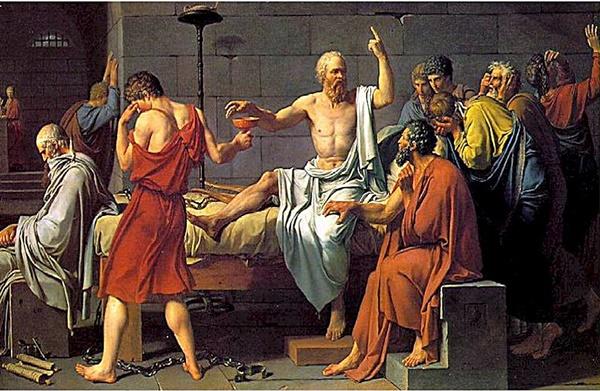 لوحة (موت سقراط) - 1787 للرسام الفرنسي جاك لوي دافيد